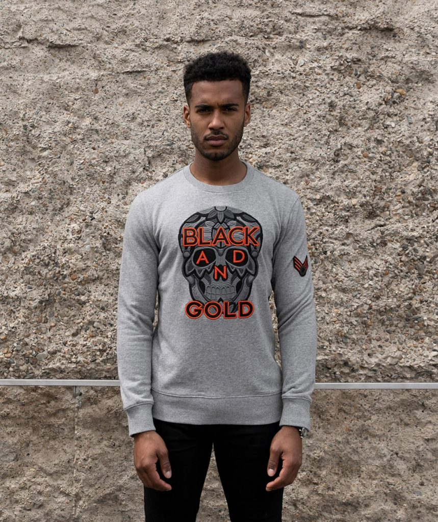 Grijs skull sweater Black and Gold army Roeselare